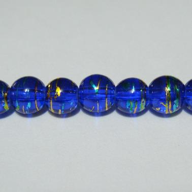 Margele sticla albastre cu auriu 6 mm 10 buc