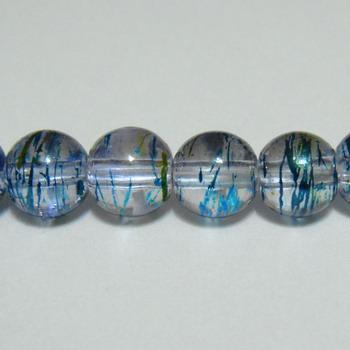Margele sticla albastre cu auriu 8 mm 10 buc