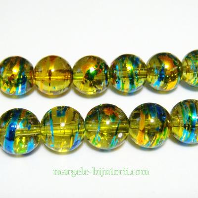 Margele sticla albastre cu auriu 10 mm 10 buc