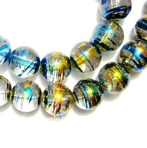 Margele sticla albastre cu auriu 12 mm 1 buc