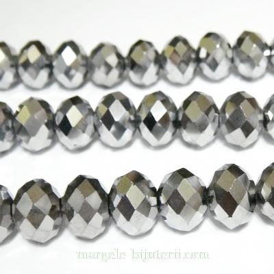 Margele sticla multifete argintii 10x8 mm 1 buc