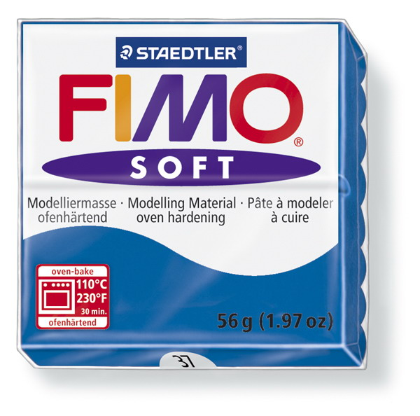 Plastelina fimo soft 56g cod cul. 37 albastru marin 1 buc