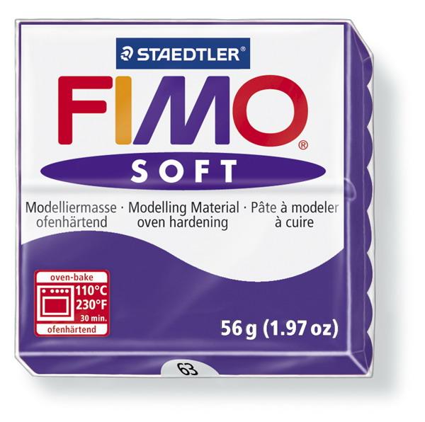 Plastelina fimo soft 56g cod cul. 63 mov inchis 1 buc