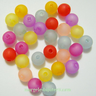 Margele acrilice, frosted, multicolore, 8mm 10 buc