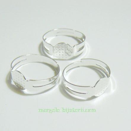 Baza inel argintie, platou 8mm, latime 4-5mm, diametrul 18mm 1 buc