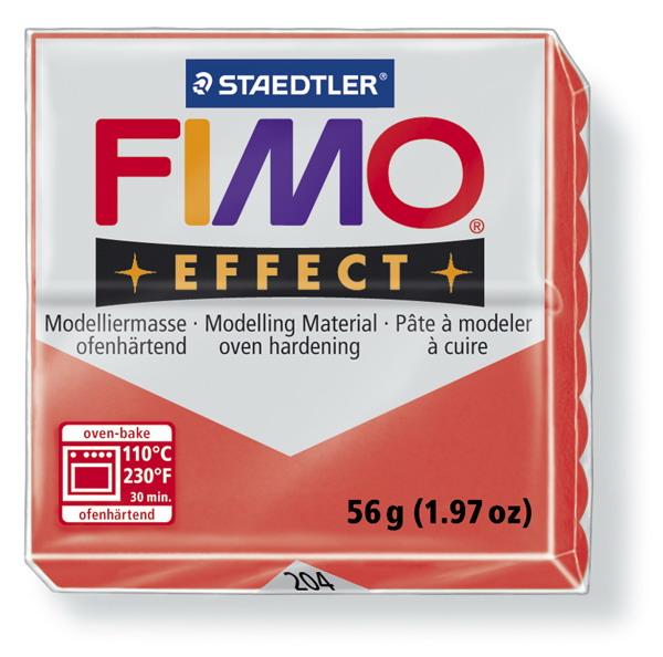 Plastelina fimo effect 56g cod cul 204 rosu transp 1 buc