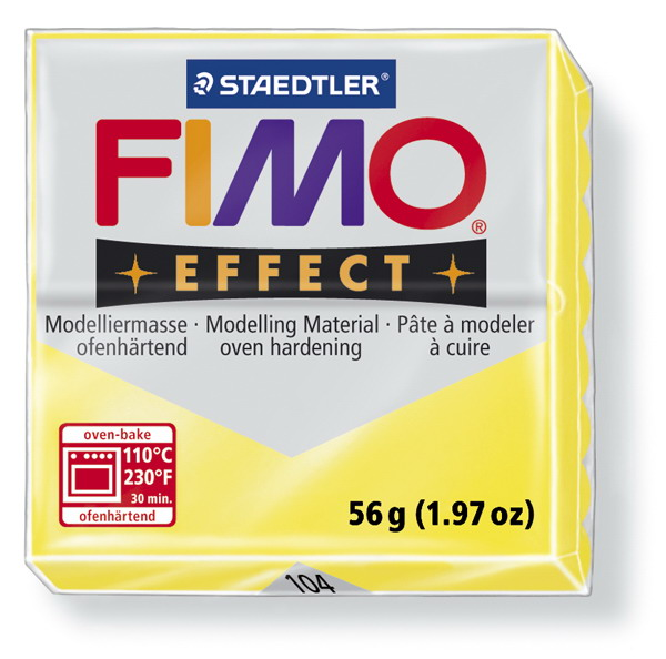 Plastelina fimo effect 56g cod cul 104 galben transp 1 buc