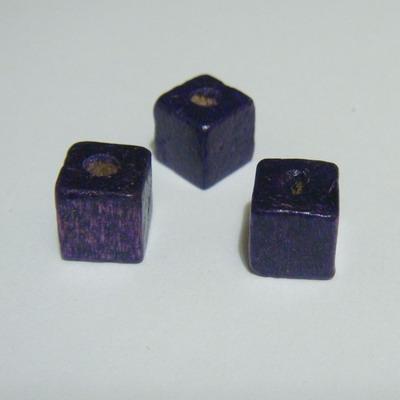 Margele lemn cubice negre 8mm 30 buc