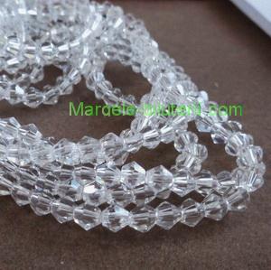 Margele sticla biconice transparente 4mm 10 buc