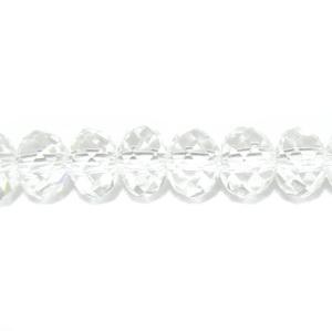 Margele sticla, multifete, rondel, transparente 6x4,5mm 10 buc