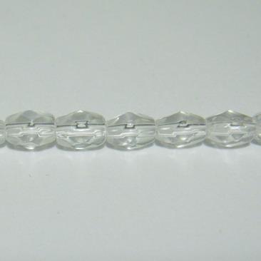 Margele sticla multifete transparente-bob orez-5,4x4mm 10 buc