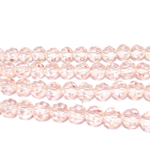 Margele sticla multifete roz-somon, 6mm 10 buc