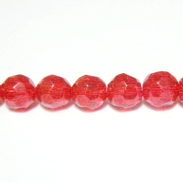 Margele sticla multifete rosii 6mm 10 buc