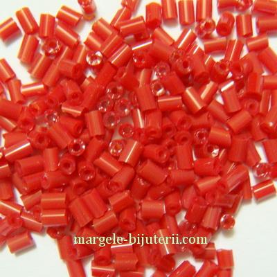 Margele tubulare rosii , 3mm 20 g