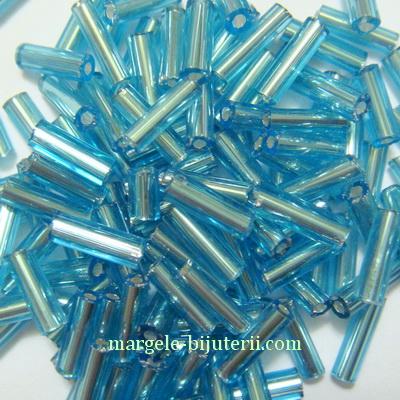 Margele tubulare, turcoaz cu miez argintiu, 6mm 20 g