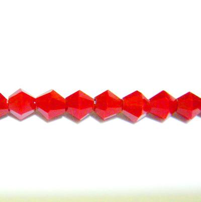 Margele sticla rosii-coral, biconice, 4mm 10 buc