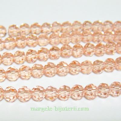 Margele sticla, multifete, transparente, roz somon, 4mm 10 buc