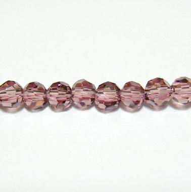Margele sticla, multifete, transparente, mov, 4mm 10 buc