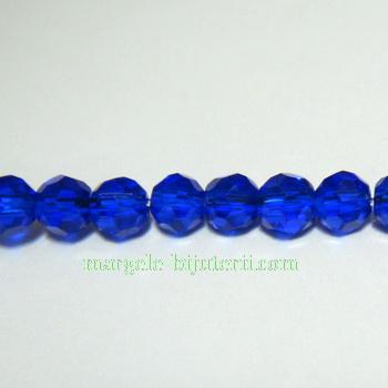 Margele sticla multifete albastre, 4mm 10 buc