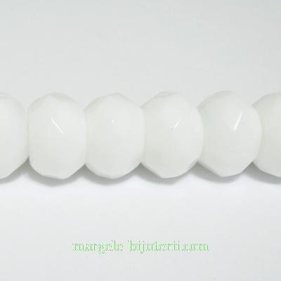 Agata alba, multifete, rondel, 12x8mm 1 buc