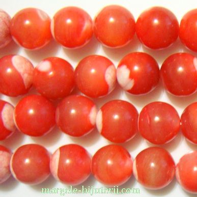 Perle sidef rosu-portocaliu 10mm 1 buc