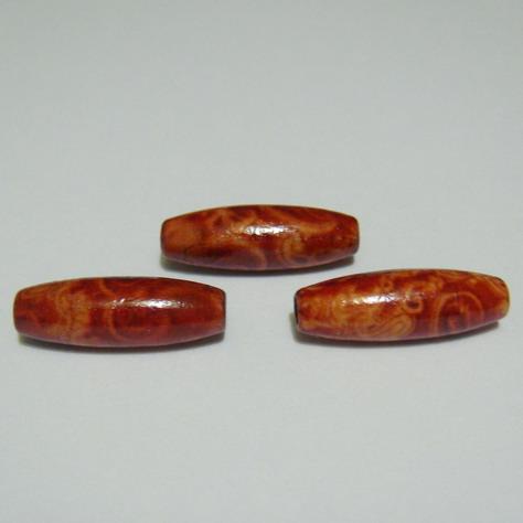 Margele lemn ovale,,iedera'', 23x8mm 1 buc