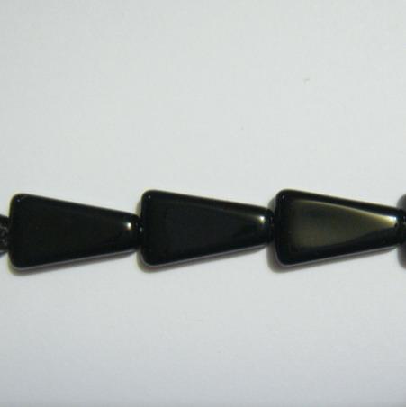 Margele sticla negre, trapezoidale, 16mm 1 buc