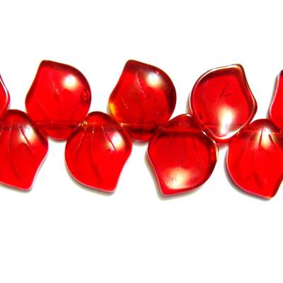 Frunzulite sticla rosii 14x12x3mm 1 buc