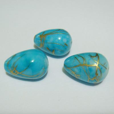 Margele plastic lacrima albastru deschis cu auriu 15x10 mm 1 buc