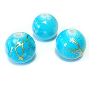Margele plastic albastre cu auriu 12mm 1 buc