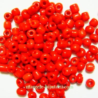 Margele nisip rosu-intens, opace, 3mm 20 g