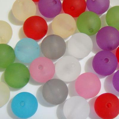 Margele plastic mate multicolore 12mm 10 buc