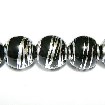 Margele sticla negre cu argintiu 8 mm 10 buc
