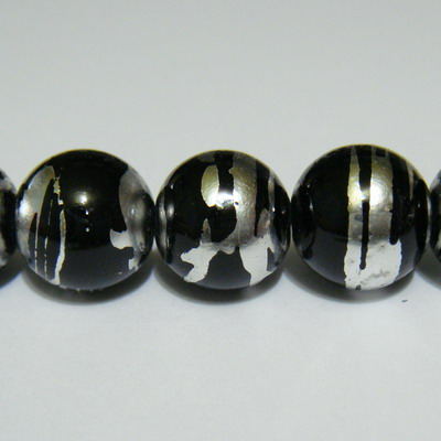 Margele sticla negre cu argintiu 10 mm 10 buc