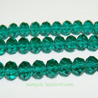 Margele sticla multifete verde-smarald, transparente 8x6 mm 10 buc