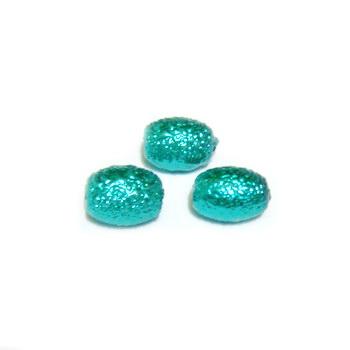 Perle sticla, stardust, ovale, verde pastel, 7x5mm 10 buc