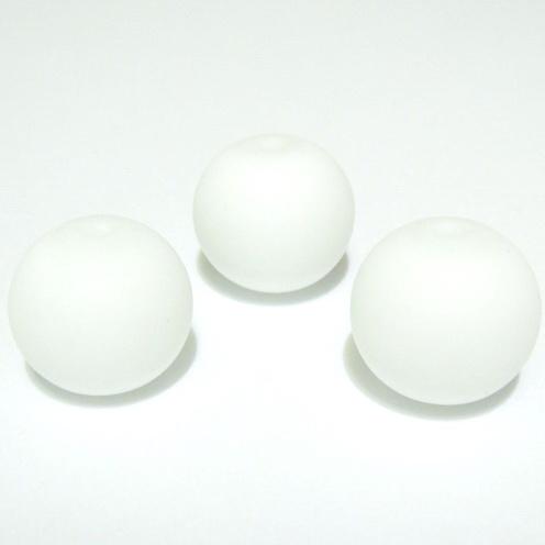 Margele sticla cauciucate, albe, 14mm 1 buc