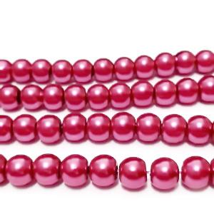 Perle sticla, visiniu deschis,  6mm 10 buc