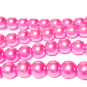 Perle sticla roz, 8mm 10 buc