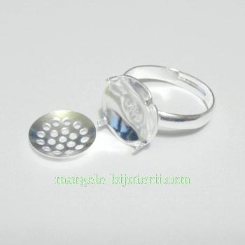Baza inel ajustabila, 16mm,  placata cu argint,platou 12mm 1 buc
