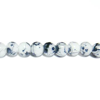 Margele sticla albe vopsite cu pete negre, 4mm 10 buc