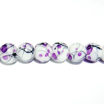 Margele sticla albe vopsite cu pete mov, 6mm 10 buc