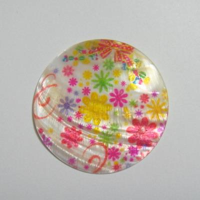 Pandantiv flori multicolore din scoica, 5cm, grosime 3mm 1 buc