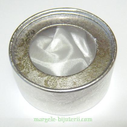 Cutie carton, argintie, matase alba, cu fereastra, rotunda, 8x4cm 1 buc
