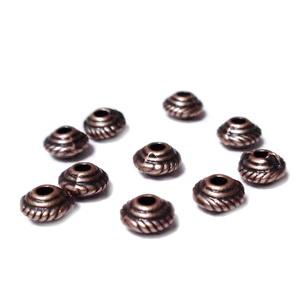 Margele metalice, culoare cupru, biconice, 5x3mm 1 buc