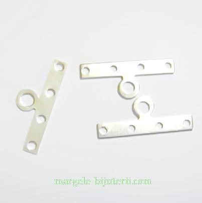 Accesorii/ capete multisir argintii cu 4 orif, 20x3mm 10 buc