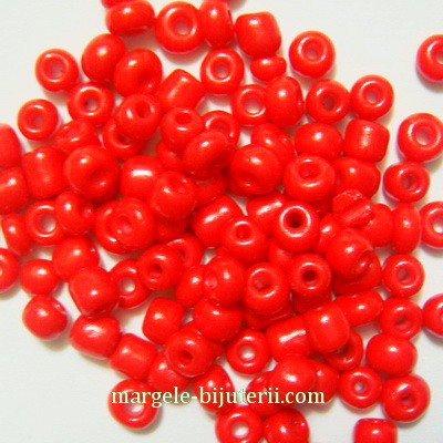 Margele nisip, mate, rosii, 4mm 20 g