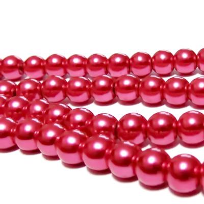 Perle sticla roz inchis, 8mm 10 buc