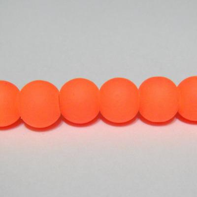 Margele sticla cauciucate, portocaliu fosforescent, 8mm 10 buc