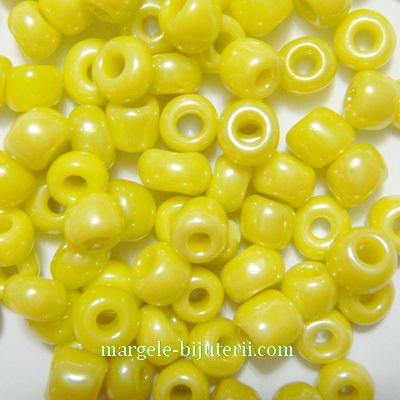 Margele nisip, perlate, galben, 4mm 20 g
